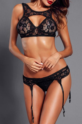 Sexy Seductive Black Lace Bralette Garter Set