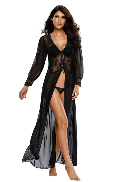 Sheer Long Sleeve Lace Robe