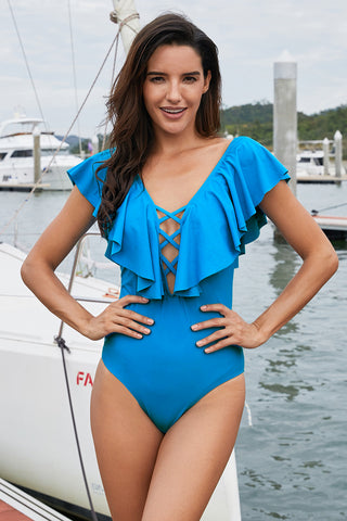 Sky Blue Plunging V Neck Ruffled Flutter Sleeve Maillot