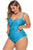 Sky Blue Halter Neck Plus Size Peplum Tankini Swimsuit