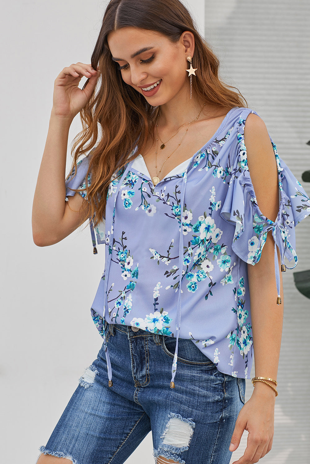 Sky Blue Floral Love Stitch Lifetime Cold Shoulder Top
