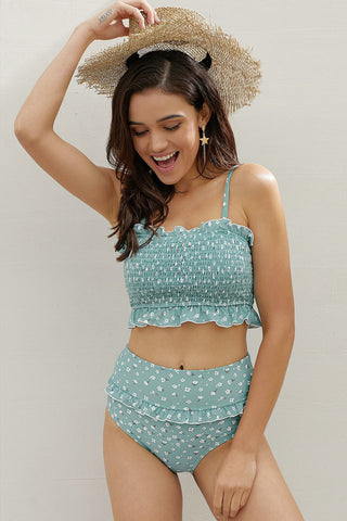Sky Blue Floral Print Bandeau Smocked High Waist Bikini Set