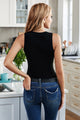 Solid Black Round Neck Ribbed Tight Tank Top