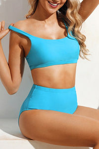 Solid Blue 2 Piece Sport  High Waist Swimsuit