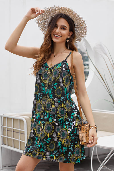 Street Black Floral Pattern Buttoned Slip Cami Dress