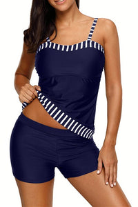 Striped Trim Spaghetti Straps Navy 2pcs Tankini Bathing Suit