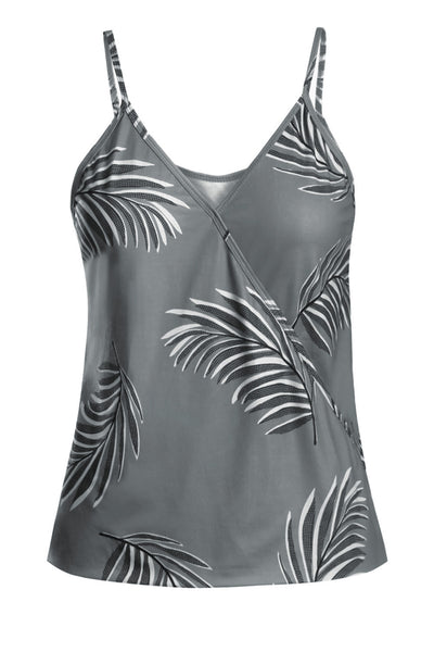 Summer Gray Tropical Plant Print Tank Top
