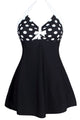 Black White Polka Dot One-piece Swimdress MB41923-1