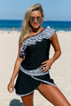 Tribal Geometry Ruffle One Shoulder Tankini Swimsuit With Skirts