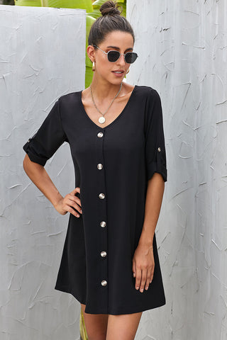 V Neck Button Front Roll up Tab Sleeve Black Casual Dress