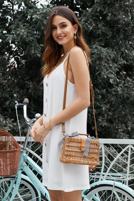 White Buttoned Slip Dress