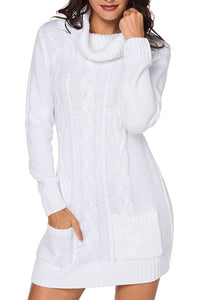 White Cowl Neck Pocket Cable Knit Sweater Dress