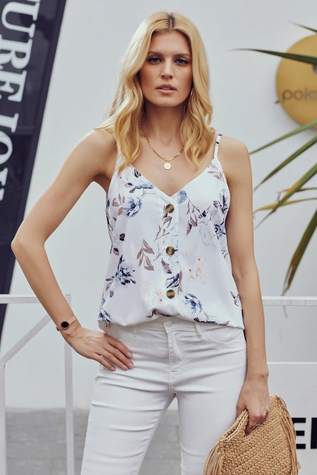 White Floral Print Button Down Tank Top