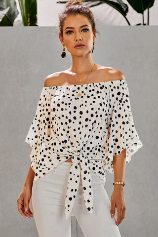 White Polka Dot 3/4 Bell Sleeve Front Tie Knot Off Shoulder Top