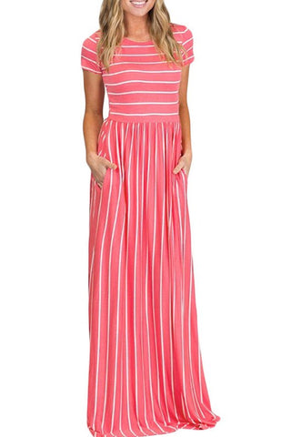 White Rosy Stripe Short Sleeve Maxi Dress