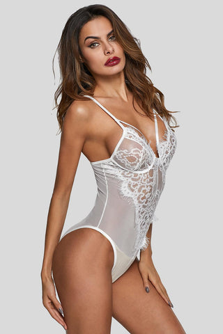 White Sheer Mesh Lace Insert High Leg Bodysuit