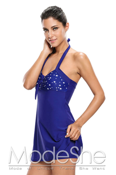 White Starlet Navy One-piece Swimdress