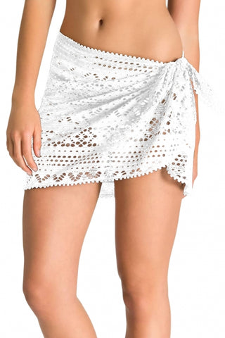White Stylish Crochet Sarong Cover up