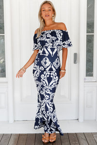 White Tendril Print Navy Ruffle Off-the-shoulder Maxi Dress
