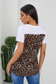 Wihte Leopard Printed Splicing Short Sleeve T-Shirt