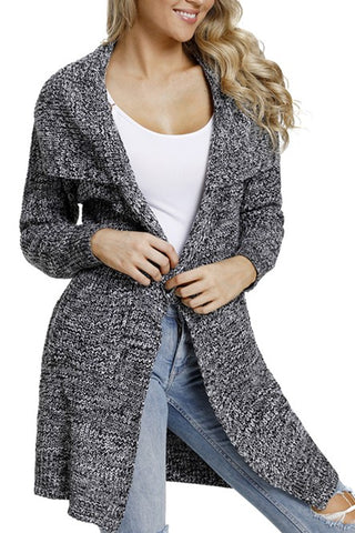 Winter Gray Chunky Long Cardigan with Side Pockets