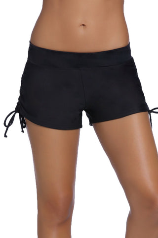 Women Black Ruched Side Swimsuit Bottom