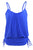 Women Blue Spaghetti Strap Tankini Swimwear Tops