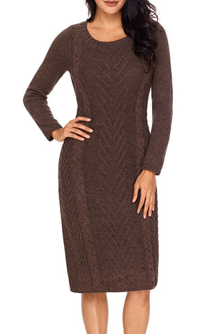 Women's Coffee Hand Knitted Sweater Dress