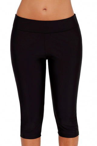 Womens Black Mid Waist Crop Swim Legging
