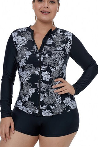 Womens Black White Artistic Lotus Print Long Sleeve Rashguard