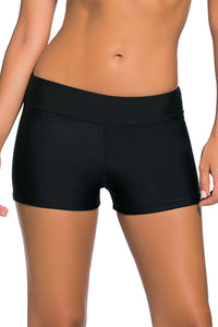 Womens Black Wide Waistband Swimsuit Bottom Shorts