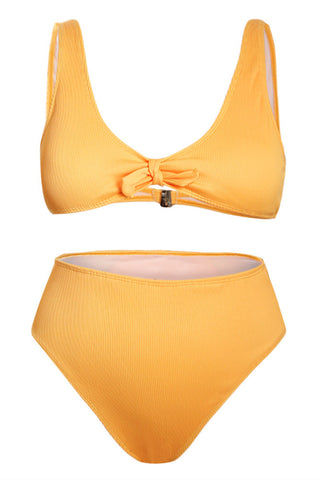 Yellow Knot Center Ribbed Vest Two-piece High Waist Swimwear