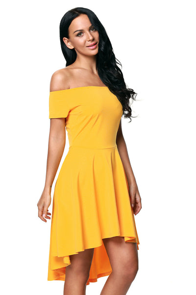Yellow All The Rage Off Shoulder High Low Cocktail Party Dress