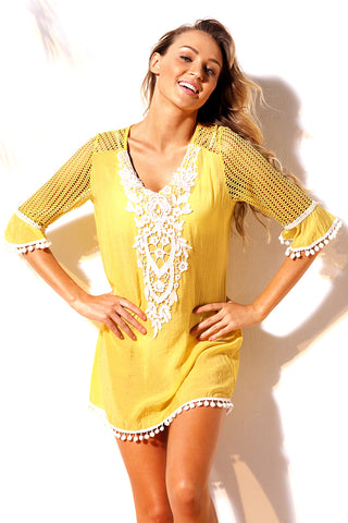 Yellow Crochet Pom Pom Trim Beach Tunic Cover up