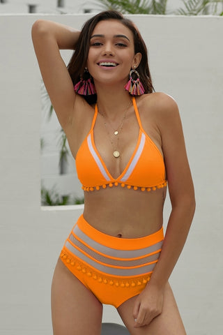 Yellow Pom Pom Mesh Insert High Waist Bikini Set