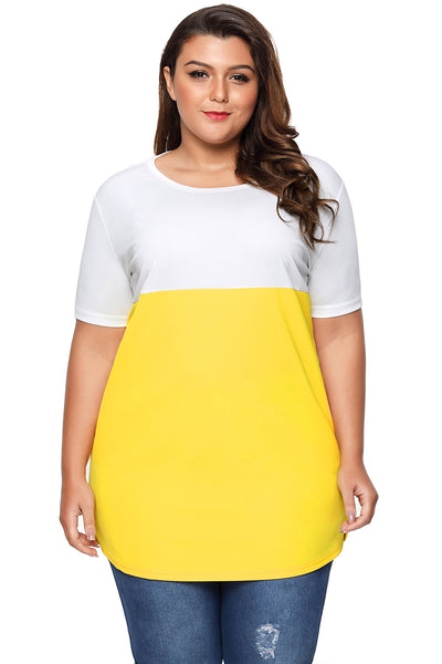 Yellow White Colorblock Short Sleeve Pocket Tunic