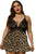 Black Brown Plus Size Lace Bra Splicing Leopard Babydoll