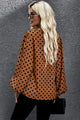Brown Dot Boo Balloon Sleeve V Neck Blouse