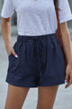 Women's Dusty Blue Strive Pocketed Tencel Summer Shorts