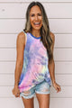 Blue Pink Tie Dye Twist Detail Casual Tank Top
