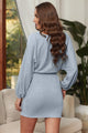 Fashion Gray V Neck Ribbed Sweater Dress