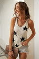 Apricot Star Print Racerback V Neck Summer Tank Top