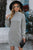 Gray Mock Neck Lantern Sleeves Bodycon Sweater Dress