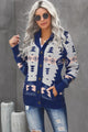 Winter Blue Retro Jacquard Pattern Buttoned Front Hooded Sweater