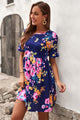 Dark Blue Ruffled Round Neck Short Sleeve Floral Dress