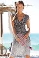 Brown Gradient Polka Dot V Neck Sleeveless Midi Beach Dress