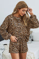 Leopard Tie Dye Knit Long Sleeve and Short Pajamas Set
