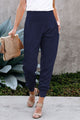 Women Blue Wide Waistband Pocketed Joggers