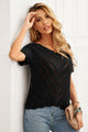 Short Sleeve Black V Neck Eyelet Knitted Top with Scalloped Trims