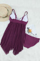 Purple Retro Polka Dot Print Handkerchief Hem Tankini Set
